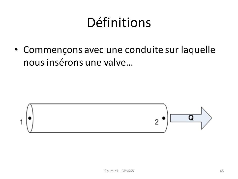Définitions Commençons avec une conduite sur laquelle nous insérons une valve… Cours #1 - GPA66845