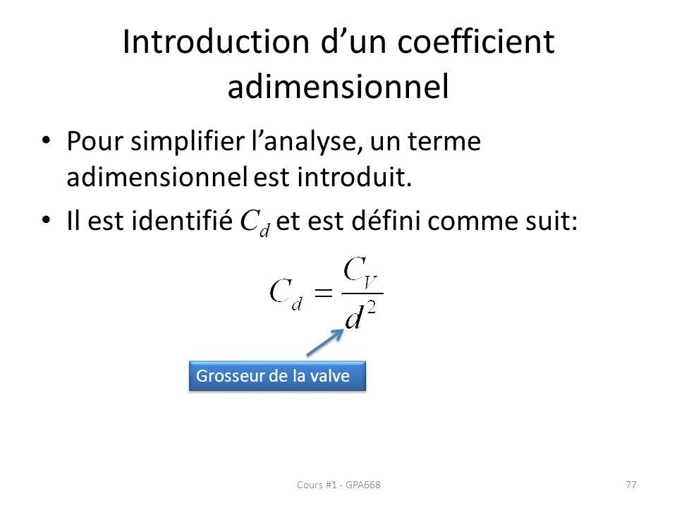 Introduction dun coefficient adimensionnel Pour simplifier lanalyse, un terme adimensionnel est introduit.