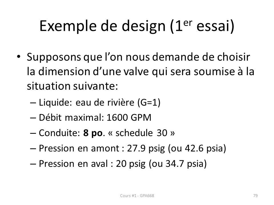 Exemple de design (1 er essai) Supposons que lon nous demande de choisir la dimension dune valve qui sera soumise à la situation suivante: – Liquide: eau de rivière (G=1) – Débit maximal: 1600 GPM – Conduite: 8 po.