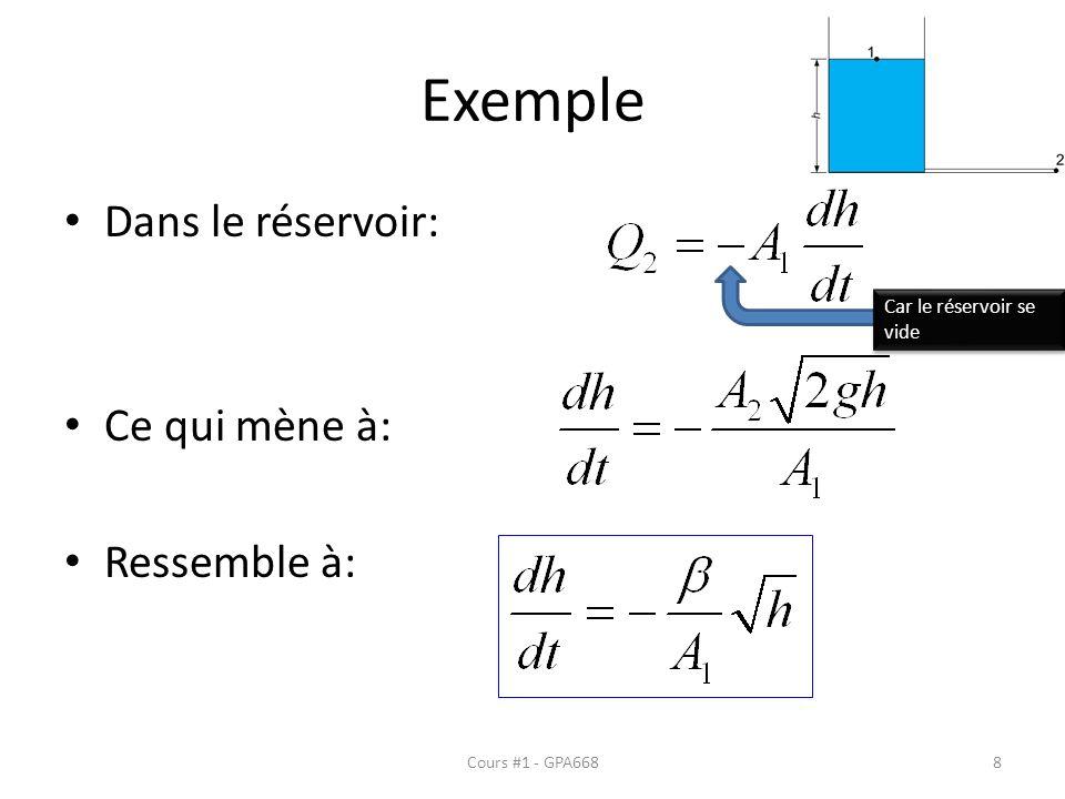 Exemple Dans le réservoir: Ce qui mène à: Ressemble à: Car le réservoir se vide Cours #1 - GPA6688