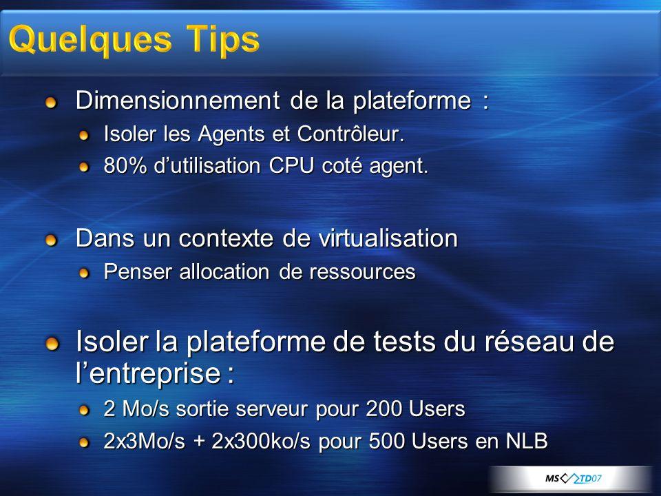 Dimensionnement de la plateforme : Isoler les Agents et Contrôleur. 80% dutilisation CPU coté agent. Dans un contexte de virtualisation Penser allocat