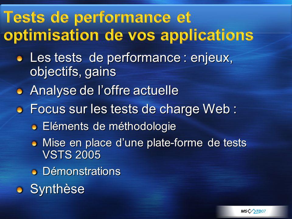 Bien définir les hypothèses Scénarios fonctionnels et leur répartition (10% login, 60% panier, 20% paiement…) Navigateurs (IE, FireFox, Opera…) Répartition des bandes passantes (LAN, 56K…) Constituer un test étalon Fiabiliser le test de référence (demo) Vérifier la reproductibilité de la procédure de test.