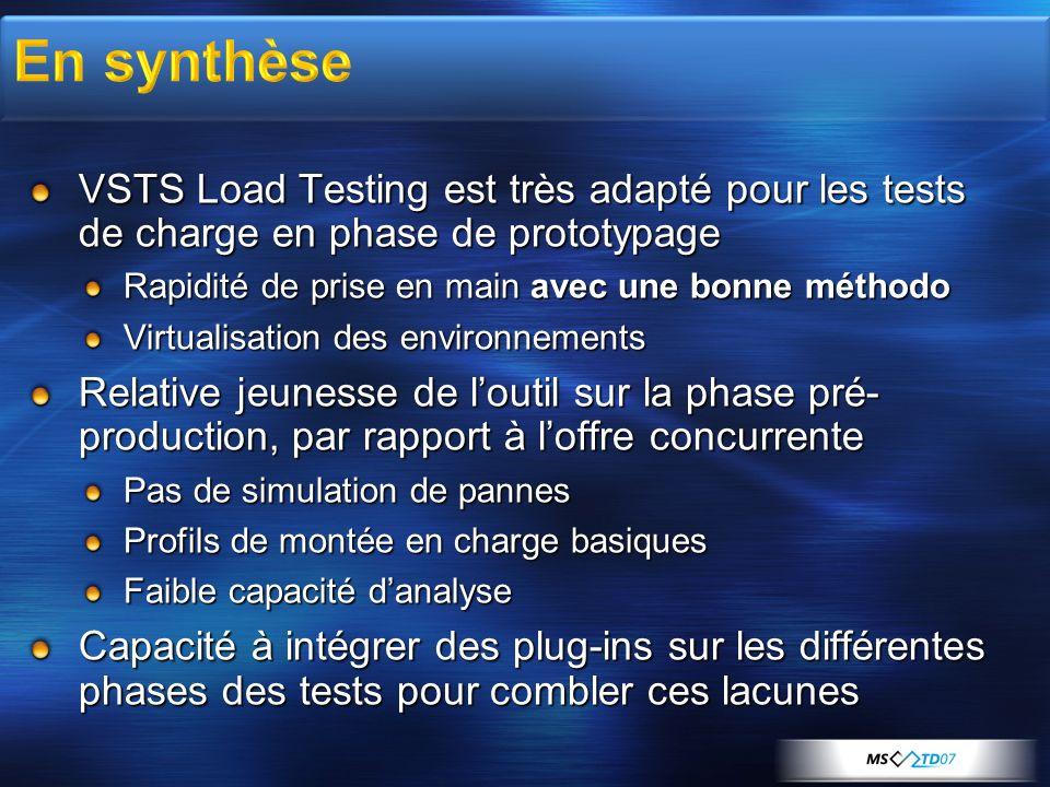 VSTS Load Testing est très adapté pour les tests de charge en phase de prototypage Rapidité de prise en main avec une bonne méthodo Virtualisation des