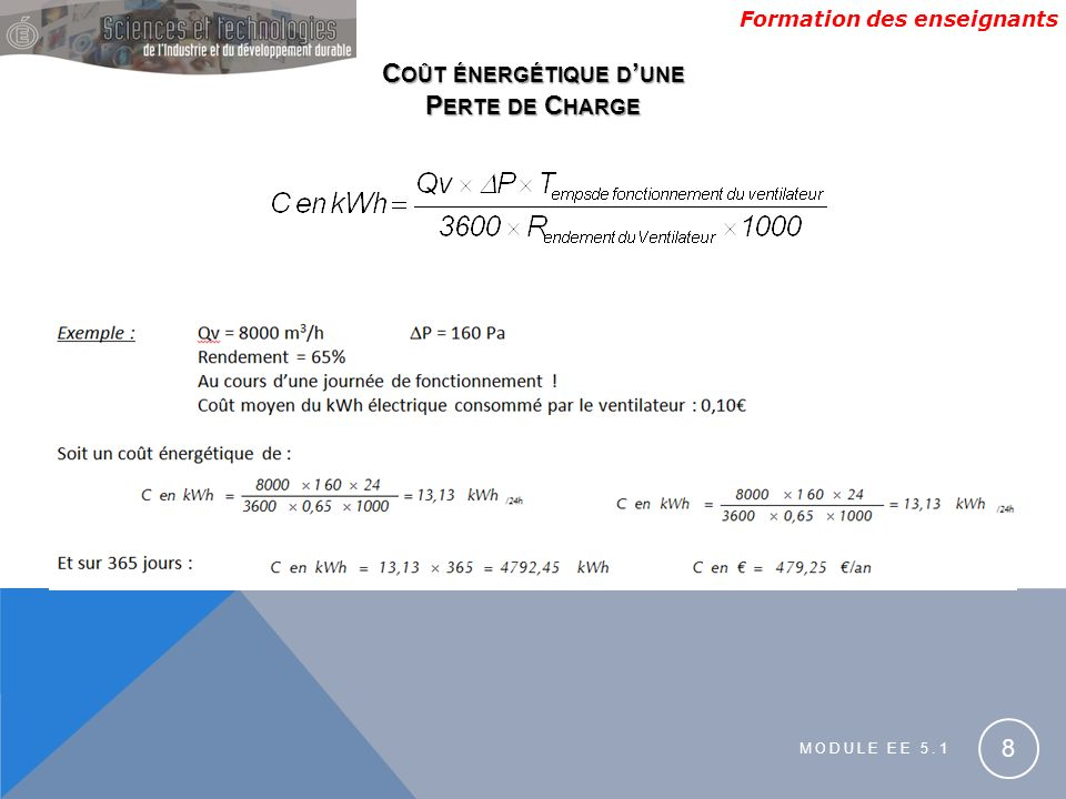 Formation des enseignants MODULE EE 5.1 8 C OÛT ÉNERGÉTIQUE D UNE P ERTE DE C HARGE