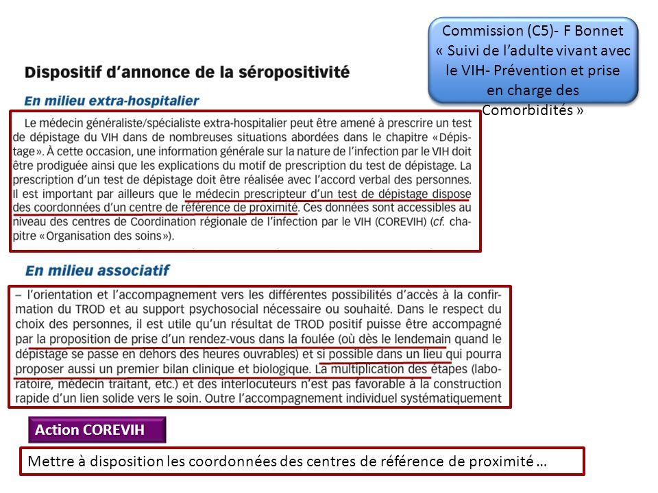 Action COREVIH Mettre à disposition les coordonnées des centres de référence de proximité … Commission (C5)- F Bonnet « Suivi de ladulte vivant avec le VIH- Prévention et prise en charge des Comorbidités »