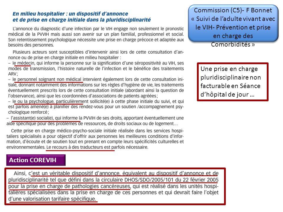 Commission (C5)- F Bonnet « Suivi de ladulte vivant avec le VIH- Prévention et prise en charge des Comorbidités » Une prise en charge pluridisciplinaire non facturable en Séance dhôpital de jour … Action COREVIH