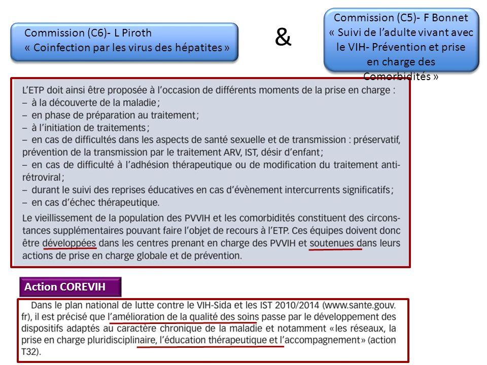 Commission (C6)- L Piroth « Coinfection par les virus des hépatites » Commission (C5)- F Bonnet « Suivi de ladulte vivant avec le VIH- Prévention et prise en charge des Comorbidités » & Action COREVIH
