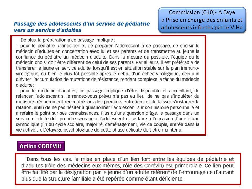 Commission (C10)- A Faye « Prise en charge des enfants et adolescents infectés par le VIH»