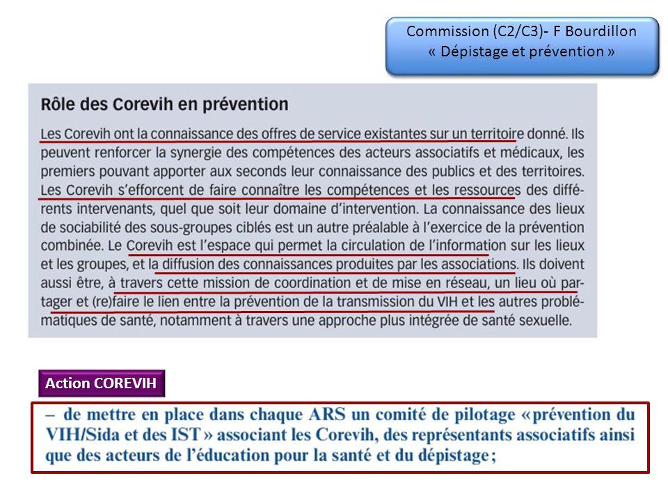 Commission (C2/C3)- F Bourdillon « Dépistage et prévention » Action COREVIH