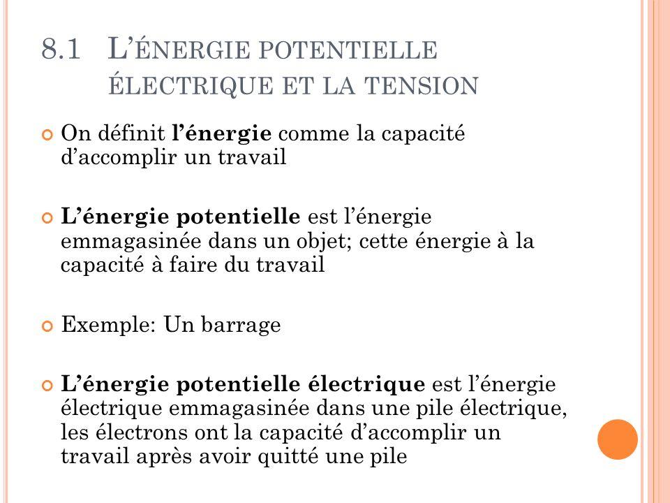8.1L ÉNERGIE POTENTIELLE ÉLECTRIQUE ET LA TENSION On définit lénergie comme la capacité daccomplir un travail Lénergie potentielle est lénergie emmaga