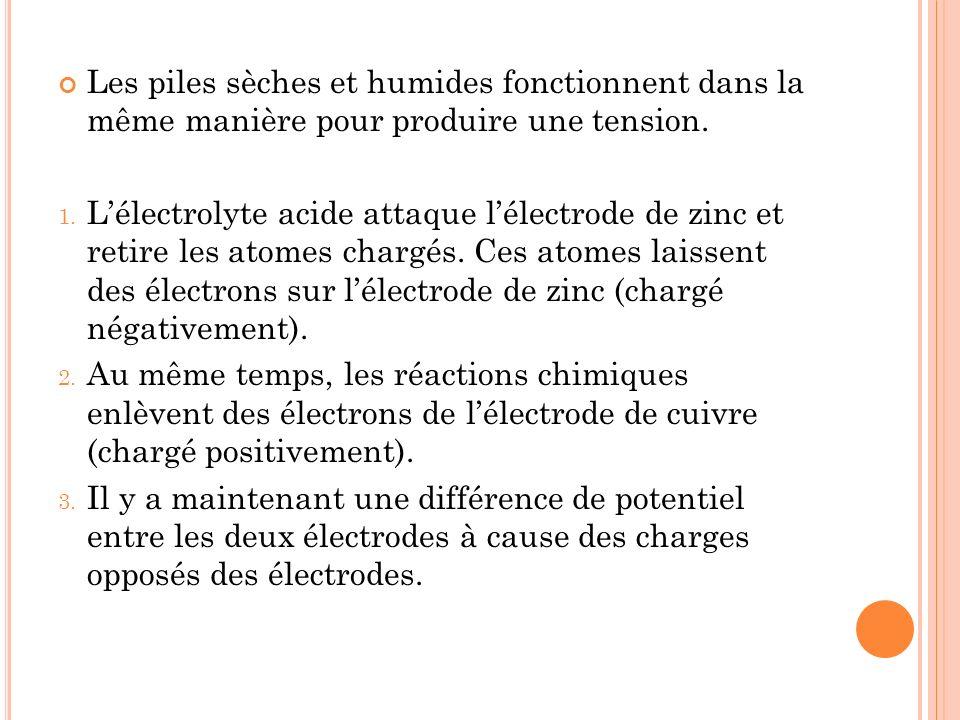 Les piles sèches et humides fonctionnent dans la même manière pour produire une tension. 1. Lélectrolyte acide attaque lélectrode de zinc et retire le