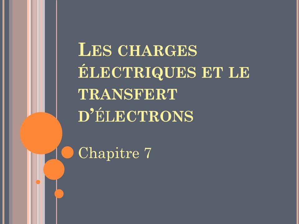 L ES CHARGES ÉLECTRIQUES ET LE TRANSFERT D ÉL ECTRONS Chapitre 7