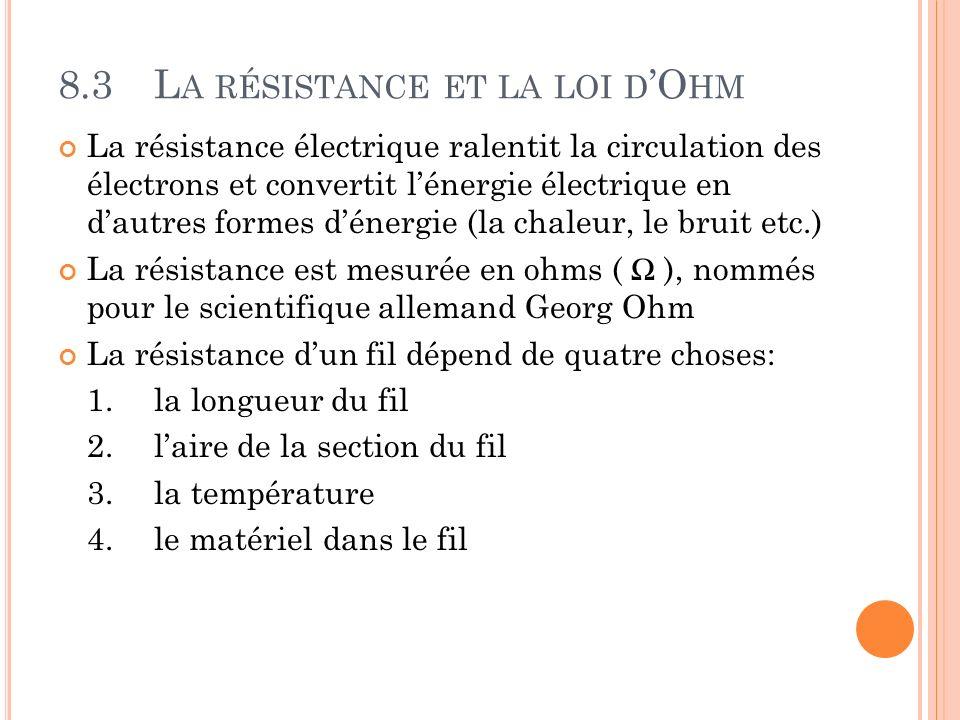 8.3L A RÉSISTANCE ET LA LOI D O HM La résistance électrique ralentit la circulation des électrons et convertit lénergie électrique en dautres formes d