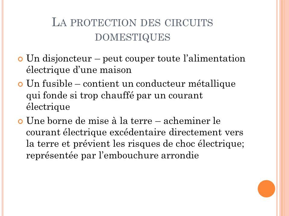 L A PROTECTION DES CIRCUITS DOMESTIQUES Un disjoncteur – peut couper toute lalimentation électrique dune maison Un fusible – contient un conducteur mé