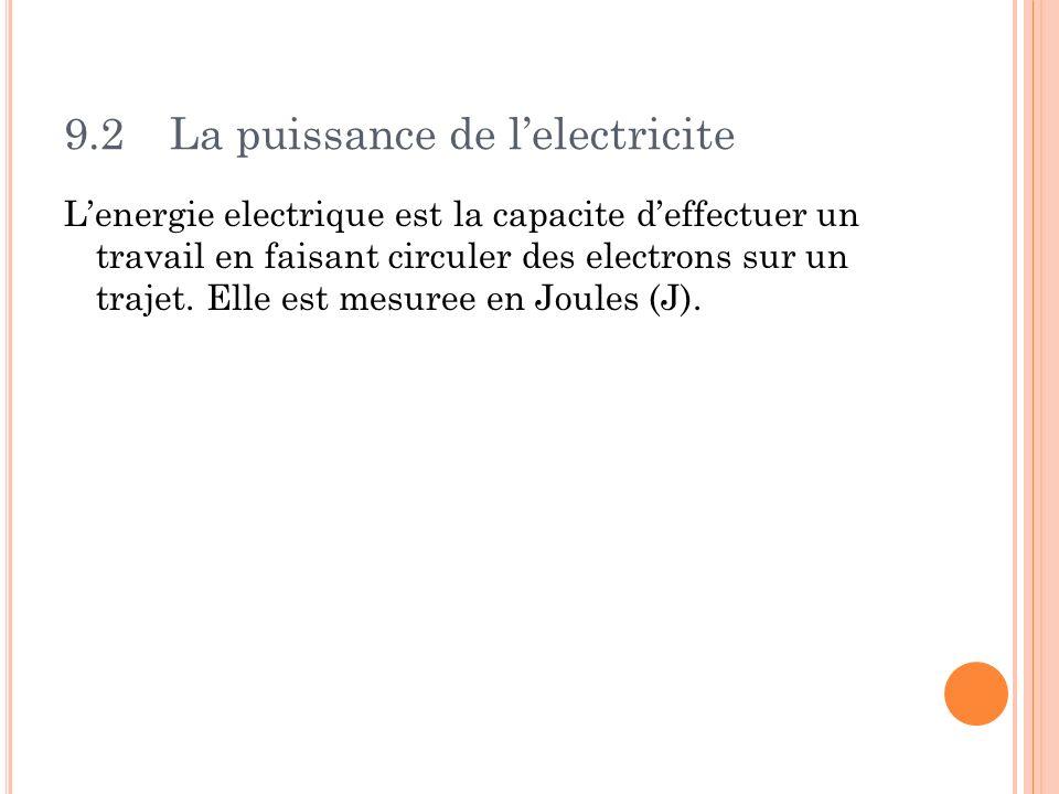 9.2La puissance de lelectricite Lenergie electrique est la capacite deffectuer un travail en faisant circuler des electrons sur un trajet. Elle est me