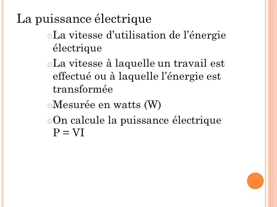 La puissance électrique La vitesse dutilisation de lénergie électrique La vitesse à laquelle un travail est effectué ou à laquelle lénergie est transf
