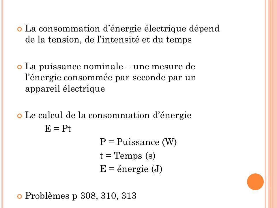 La consommation dénergie électrique dépend de la tension, de lintensité et du temps La puissance nominale – une mesure de lénergie consommée par secon