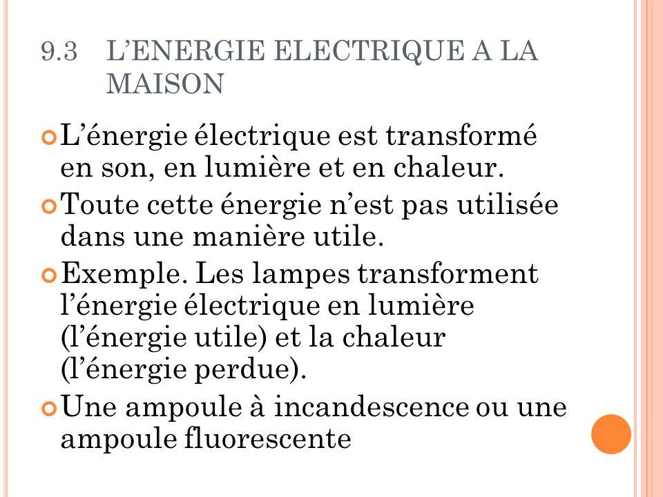 9.3LENERGIE ELECTRIQUE A LA MAISON Lénergie électrique est transformé en son, en lumière et en chaleur. Toute cette énergie nest pas utilisée dans une