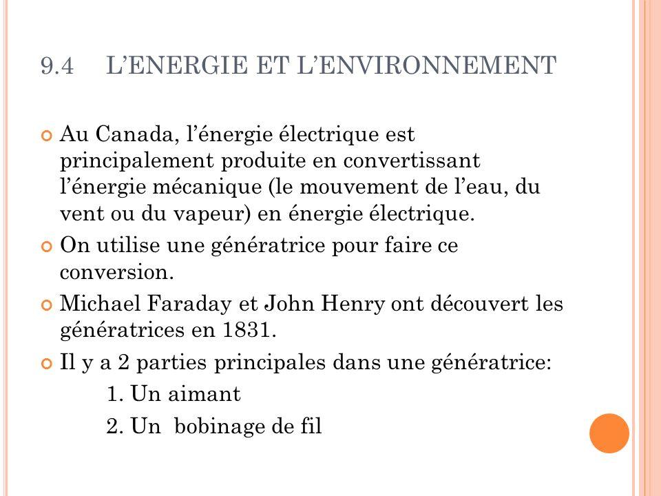 9.4LENERGIE ET LENVIRONNEMENT Au Canada, lénergie électrique est principalement produite en convertissant lénergie mécanique (le mouvement de leau, du