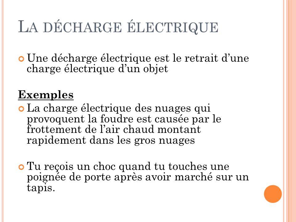 L A DÉCHARGE ÉLECTRIQUE Une décharge électrique est le retrait dune charge électrique dun objet Exemples La charge électrique des nuages qui provoquen