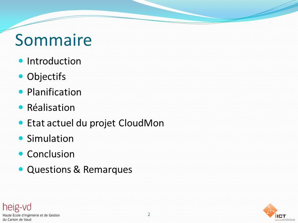 Sommaire Introduction Objectifs Planification Réalisation Etat actuel du projet CloudMon Simulation Conclusion Questions & Remarques 2