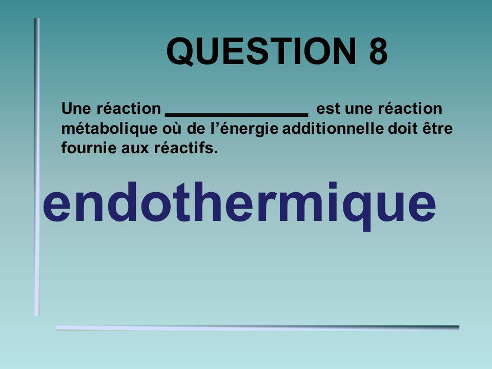 QUESTION 7 Ce «type» dénergie est nécessaire pour briser les liaisons chimiques qui maintiennent des atomes ensembles pour débuter une réaction chimique.