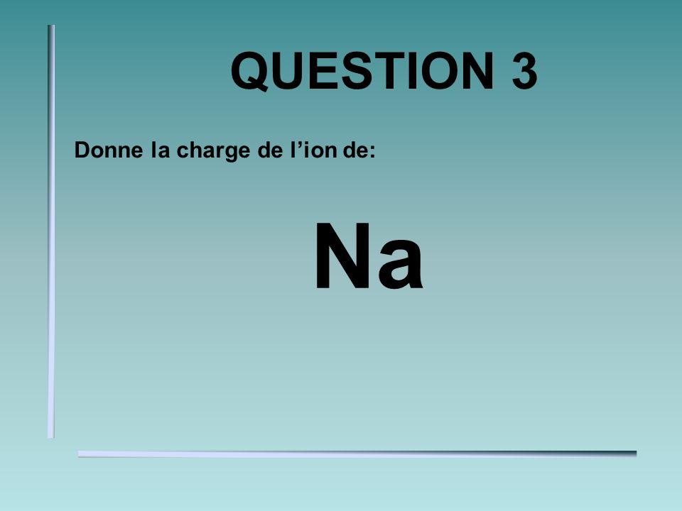 QUESTION 3 Donne la charge de lion de: Na