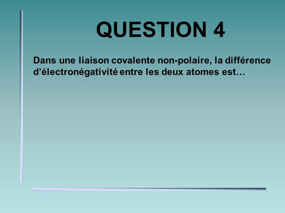 QUESTION 4 Dans une liaison covalente non-polaire, la différence délectronégativité entre les deux atomes est…