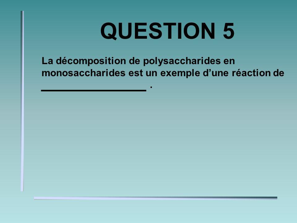 QUESTION 5 La décomposition de polysaccharides en monosaccharides est un exemple dune réaction de.