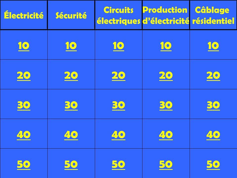 20 30 40 50 10 20 30 40 50 10 20 30 40 50 10 20 30 40 50 10 20 30 40 50 10 ÉlectricitéSécurité Circuits électriques Production délectricité Câblage ré