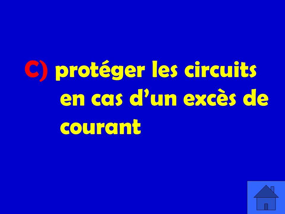 C) protéger les circuits en cas dun excès de courant