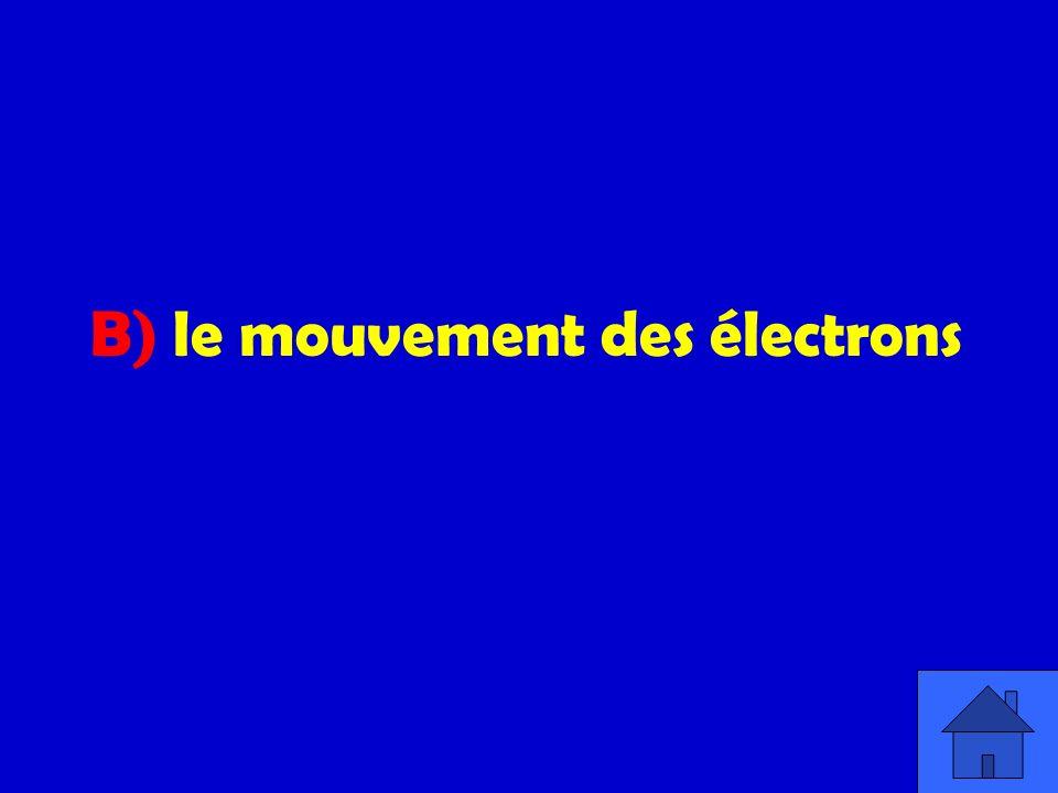 B) le mouvement des électrons