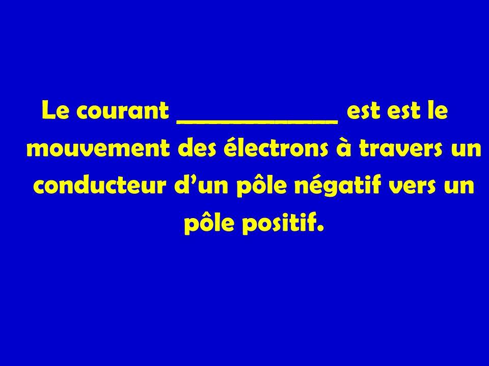 Le courant _____________ est est le mouvement des électrons à travers un conducteur dun pôle négatif vers un pôle positif.