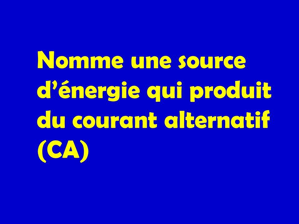 Nomme une source dénergie qui produit du courant alternatif (CA)