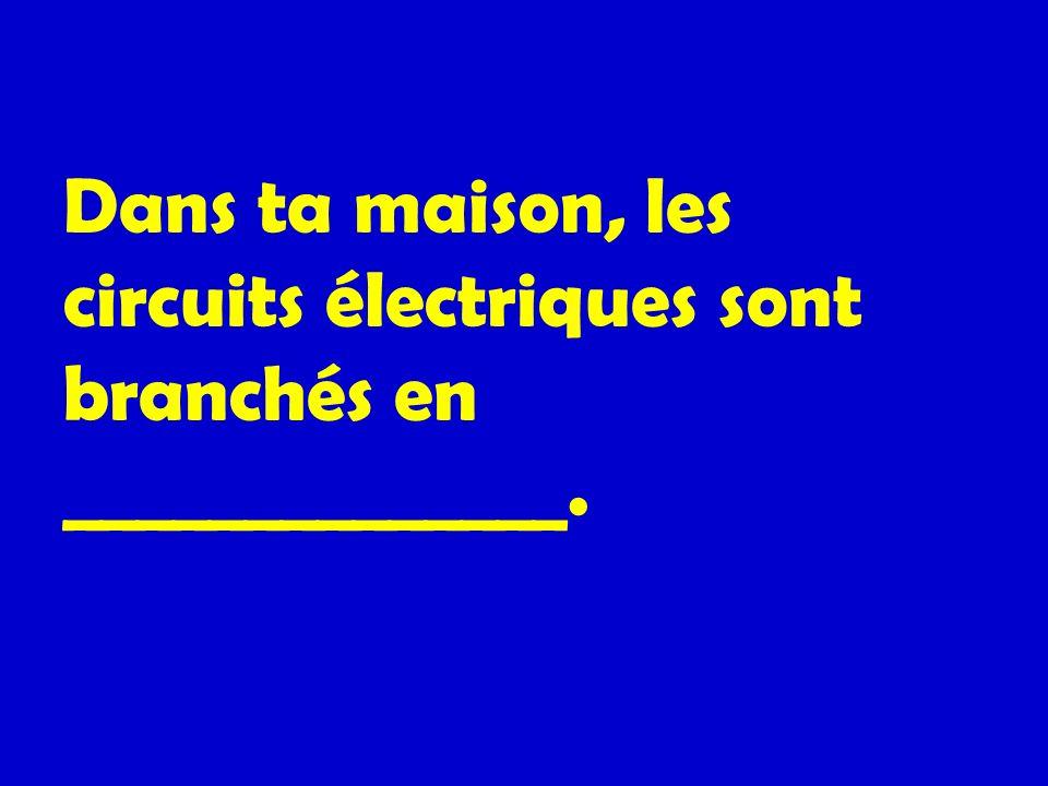 Dans ta maison, les circuits électriques sont branchés en ______________.