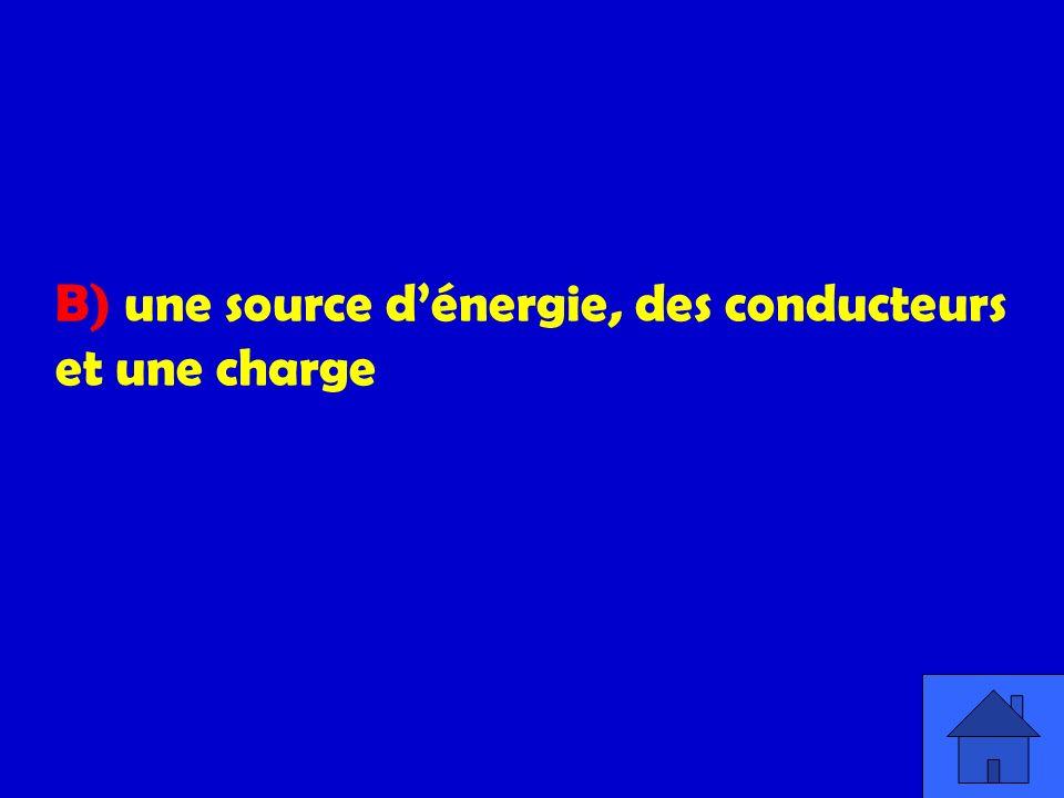 B) une source dénergie, des conducteurs et une charge