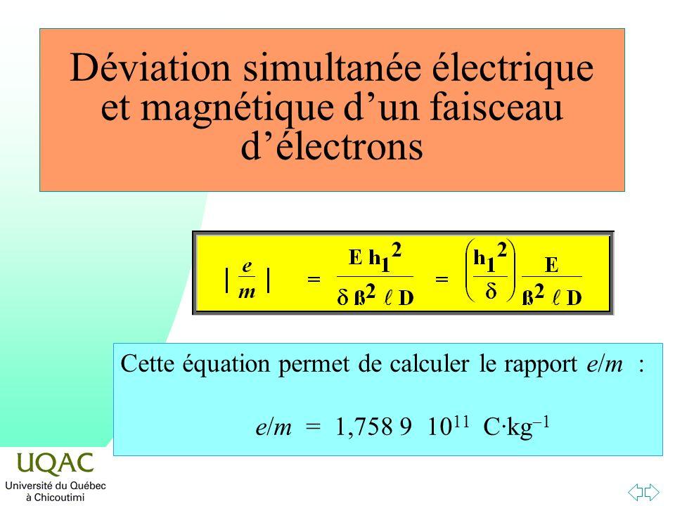 Déviation simultanée électrique et magnétique dun faisceau délectrons Cette équation permet de calculer le rapport e/m : e/m = 1,758 9 10 11 C·kg 1