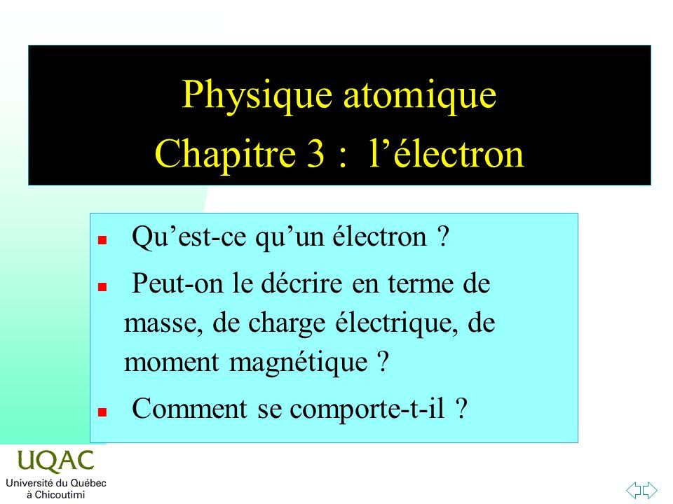 Physique atomique Chapitre 3 : lélectron n Quest-ce quun électron ? n Peut-on le décrire en terme de masse, de charge électrique, de moment magnétique