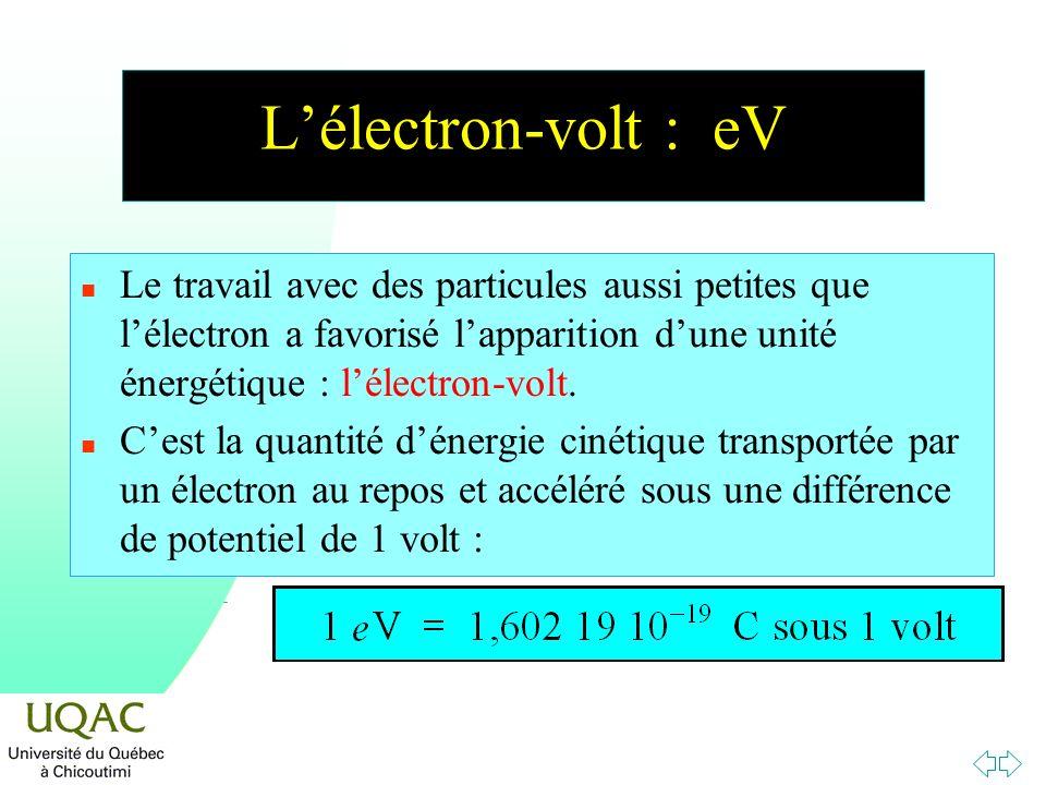 Lélectron-volt : eV n Le travail avec des particules aussi petites que lélectron a favorisé lapparition dune unité énergétique : lélectron-volt. n Ces