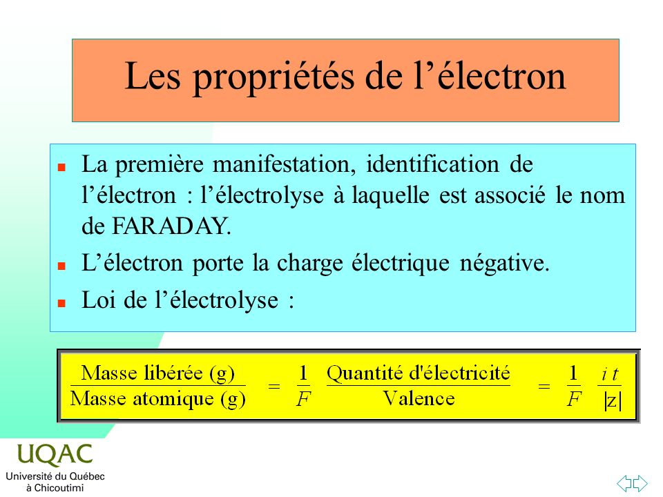 Les propriétés de lélectron n La première manifestation, identification de lélectron : lélectrolyse à laquelle est associé le nom de FARADAY. n Lélect