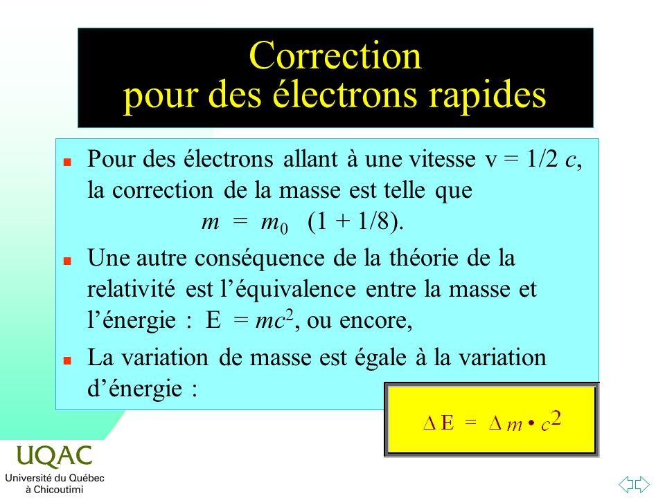 Correction pour des électrons rapides n Pour des électrons allant à une vitesse v = 1/2 c, la correction de la masse est telle que m = m 0 (1 + 1/8).