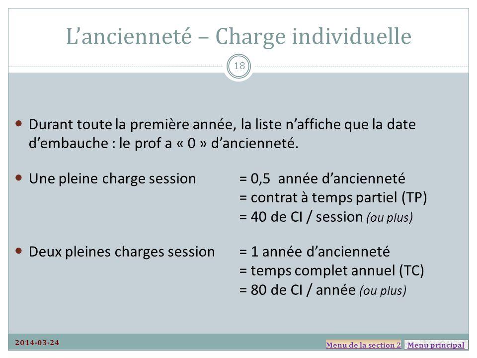 Menu principal Lancienneté – Charge individuelle Durant toute la première année, la liste naffiche que la date dembauche : le prof a « 0 » dancienneté.