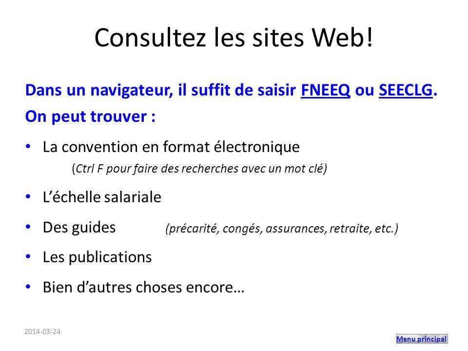 Menu principal Consultez les sites Web.
