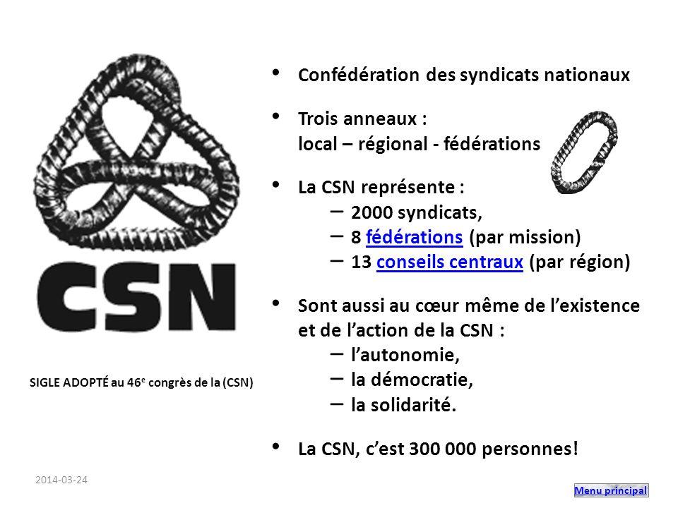 Menu principal fondée en 1969 33 000 membres 91 syndicats 3 regroupements : –privé (35) –université (10) –cégeps (46) Structure de la FNEEQ Les guides de la FNEEQ 2014-03-24
