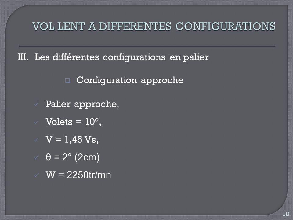 III.Les différentes configurations en palier Configuration approche Palier approche, Volets = 10°, θ = 2° (2cm) V = 1,45 Vs, W = 2250tr/mn 18