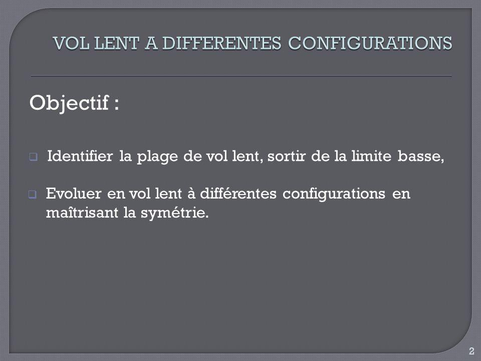 Objectif : Identifier la plage de vol lent, sortir de la limite basse, Evoluer en vol lent à différentes configurations en maîtrisant la symétrie. 2