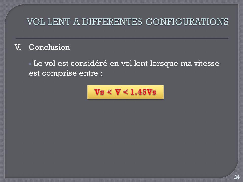 V.Conclusion Le vol est considéré en vol lent lorsque ma vitesse est comprise entre : 24