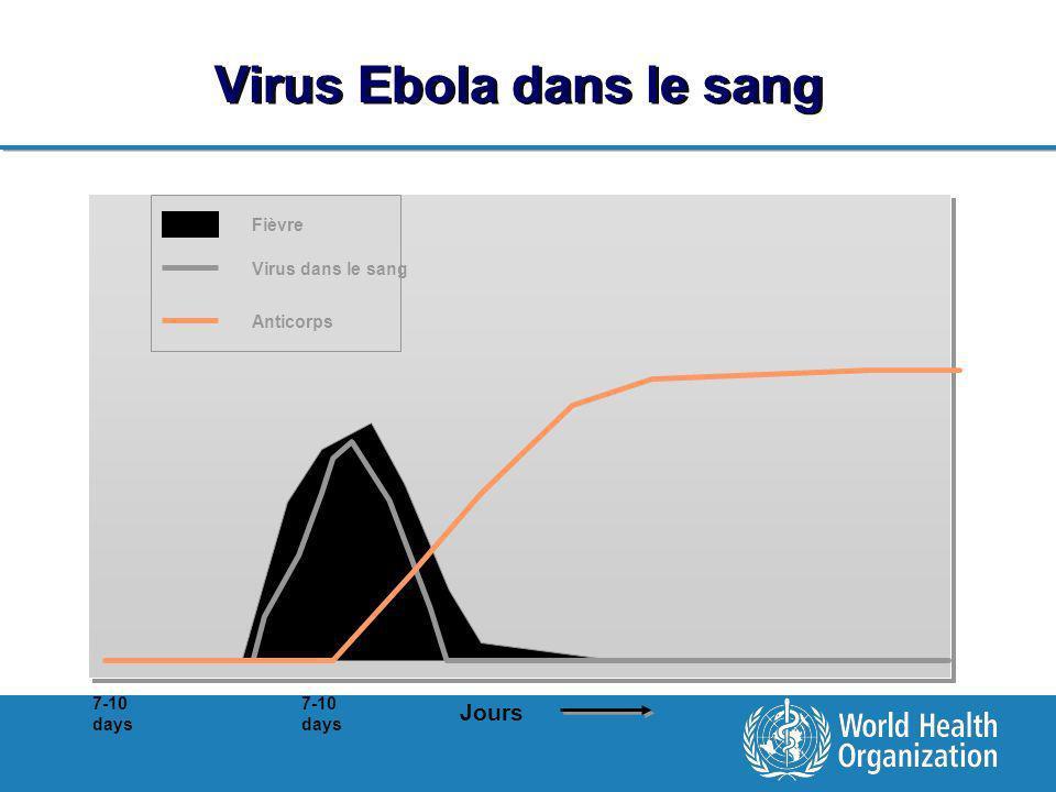 Virus Ebola dans le sang Jours 7-10 days Fièvre Virus dans le sang Anticorps