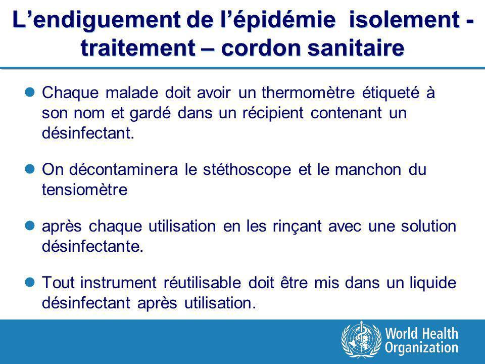 Lendiguement de lépidémie isolement - traitement – cordon sanitaire Chaque malade doit avoir un thermomètre étiqueté à son nom et gardé dans un récipient contenant un désinfectant.