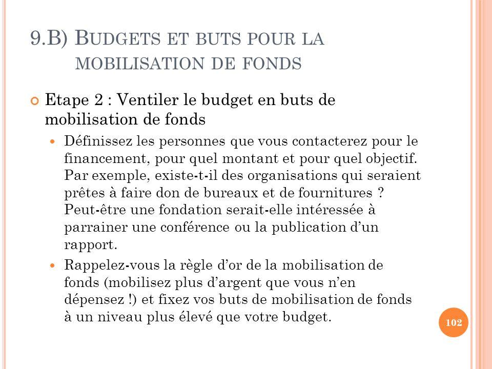 9.B) B UDGETS ET BUTS POUR LA MOBILISATION DE FONDS Etape 2 : Ventiler le budget en buts de mobilisation de fonds Définissez les personnes que vous co